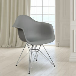 Plastic Accent Dining Chair With Arms And Chrome Base