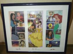 Disney Cel Set Of 2 Frame Princesses Voice Autographed Limited Height 63cm Used