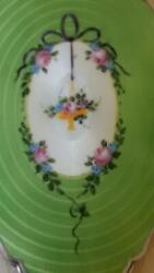 Gorgeous 1920and039s Sterling Silver And Green Enamel Guilloche Hand Mirror - Full Size