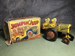 Vintage Marx Jumpin' Jeep | Wind Up Tin Toy | Motor Works | 1940s | With Box