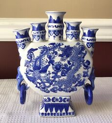 Vintage Chinese Porcelain Blue And White Five Neck Ming Style Flask W. Dragon