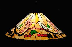 """Vintage Stained Glass Hanging Light Ceiling Cone Chandelier Xl 28"""" Birds"""