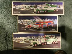 9 Different Hess Trucks + Sunoco In Box, Some W/ Bags, Various From 1990-2013