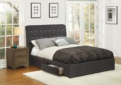 Sleek Style Dark Gray 1pc Queen Size Contemporary Bed Bedroom Furniture
