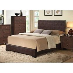 Contemporary Design W/sleek Straight Lines Full Size 1pc Bed Wooden Block Legs