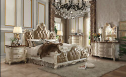 Antique Contrast Finish Traditional Furniture Pearl Eastern King Size Bed 1pc