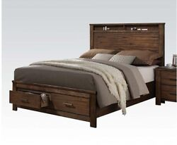 1pc Queen Size Headboard Footboard Bedroom Bed Contemporary Style Oak Finish Bed