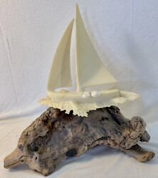 Vintage John Perry Sculpture Sailboat With Two People 10 Inch By 10 Inch