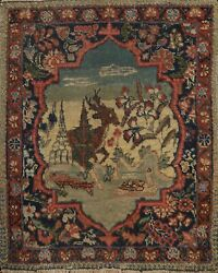 Antique Square Animal Pictorial Traditional Oriental Area Rug Wool Handmade 2x2