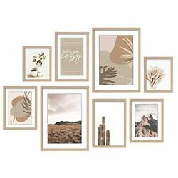 8 Pack Gallery Wall Kit Decorative Art Prints Picture Frame Collage Natural