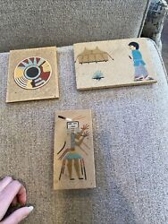 Lot Of 3 Sand Paintings By Curtis, Regis Of New Mexico, And H Lee