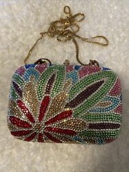 Multi color Rhinestone Clutches Evening Bag Used Just Once $30.00