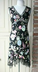 Moschino Black Silk Multicolor Floral Butterfly Print and Lace Dress US Sz 6 $68.00