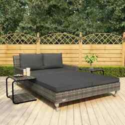 2-person Garden Sun Bed With Cushions Poly Rattan Sun Lounger Pool Day Bed Patio