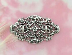 Antique Silver 2 Pieces Floral Delicate Filigree Stamping Flower E-104
