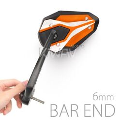Motorcycle Bar End Mirrors Viperii Orange M6 6mm Bolt-on Only Fits Suzuki