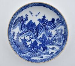 An Antique Chinese Blue And White Landscape Porcelain Dish With Cafe Glazed Rim