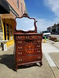 Grand Mahogany Marquetry Inlay Chest With Brass Hardware 19thc By R.j. Horner