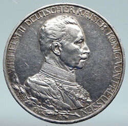 1913a Germany German States Prussia Wilhelm Ii Antique Silver 3 Mark Coin I89359