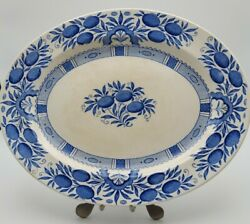 Crown Ducal Coventry Serving Platter Fruit And Leaf Pattern Blue /white England