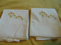 Vintage Set Of 2 No-iron Percale Standard Pillow Cases 28 X 20 Hand Embroidered