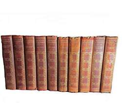1900 Modern Eloquence Red 10 Volume Antique Book Set Gorgeous Morocco Leather Ma
