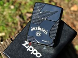 Jack Daniels Zippo Lighter - Black Ice Armor Case - Old No. 7 Tennessee Whiskey
