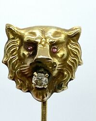 Antique 9k Gold Old Miner Diamond Ruby Tie Pin