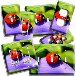 Red Ladybug On Purple Flower Summer Nature Light Switch Outlet Plates Room Decor