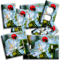 🐞 Red Ladybug On Wild Flower Summer Nature Light Switch Outlet Plate Room Decor
