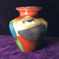 Vintage 5andrdquo Clay Pottery Vase Made In Peru Hand Painted Three Amigos In Hats