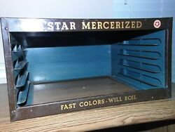 Vintage Spool Display Case, Star Mercerized Sewing Cotton With 101 Thread Spools