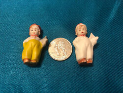 Lot Of 2 Vintage Bisque Miniature Child With Sailboat Figurines Tiny Germany