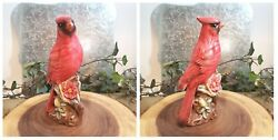 Three Bird Lover Ceramic Figurines - Two Robins 1 Is Music Box And One Cardinal
