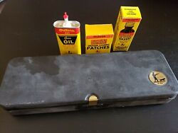 Vintage Outers Gunslick Shotgun Gun Cleaning Kit 445 Oil Can Solvent Patches
