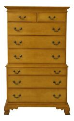 F25725ec Statton Solid Maple 2 Over 6 Drawer Chippendale High Chest