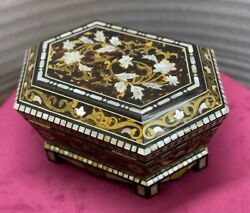 Antique Handmade Wood Jewelry Box Inlaid Shell, Tortoise Back And Copper