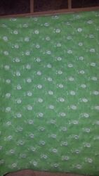vintage Fabric 1970s Green Voile with White Embroidered Flowers 2 yd x 44