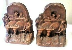 Antique Pair Of Hand Carved Western Cowboys Guns Covered Wagon Cattle - Bookends