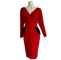 Christian Dior New Couture Red Black Pokets Buttons Wool Cotton Dress Unworn