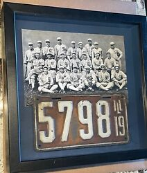 1919 Illinois Low Number License Plate Chicage Black White Sox Team Picture Il