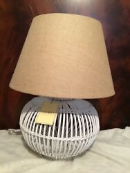Large Wicker White Table Lamp New With Tags Burlap Shade