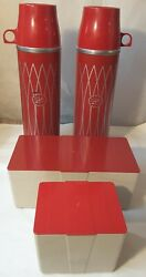 Vintage 2 Thermoses Icy Hot Picnic Bag With 2 Food Storage Bins 1950's-60's