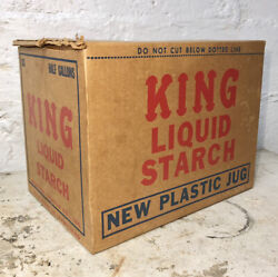 Vtg King Liquid Starch Syrup Cardboard Advertising Sign Store Display Box Large