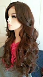 Long Medium Brown Large Curl Lace Front And Part Wig Auburn Highlights 24 In.