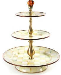 Mackenzie-childs Parchment Check 3 -tier Sweet Stand - New