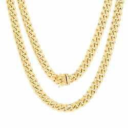 14k Yellow Gold Mens 7.5mm Miami Cuban Link Chain Pendant Necklace Box Clasp 30