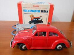 Bc Bandai Vw Volkswagen Sedan Beetle Tin Toy 1950s Vintage Red Boxed Very Rare