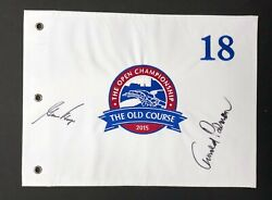 Arnold Palmer And Gary Player Rare Signed St Andrews Golf Pin Flag Aftal Rd Coa