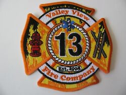 """Valley View Penn  Pa  Zip= 17983 Fire Dept Patch Iron On 3.5"""" Rare Logo"""